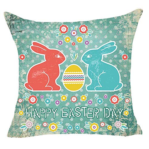 onech Happy Easter Day Rabbit Bunny Retro Egg Flower Hand Painted Wave Point Children Best Gift Square Pillowcase Cushion Cover Pillow Cover Cotton Linen Pillow Case 18