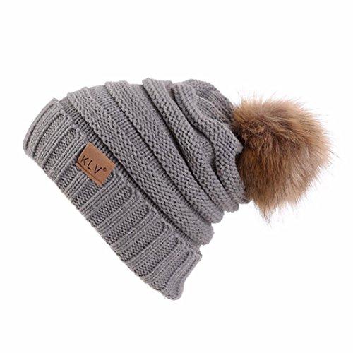 (Challyhope Winter Women Men Fashion Baggy Warm Crochet Wool Knit Ski Beanie Skull Slouchy Caps Hat (Gray, Free))