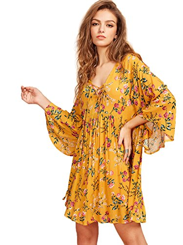 (Milumia Women's Floral Print Front Cross Lace Up Deep V-Neck Flare Sleeve Loose Short Mini Dress Yellow-1 S )