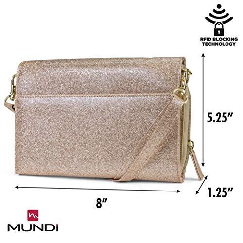 Saffiano Crossbody Vegan Gold For Bag Purse Mundi Theft Wallet RFID Women Shiny Travel Leather Rose Anti Handbag R1q5xaAxw