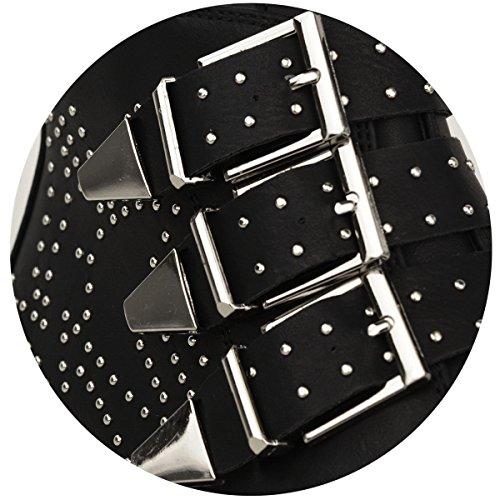 Pelle Nera Con Finta Argento Numeri Dettaglio Donna Vintage Caviglia Tacco Scarpe Biker Stivaletti Borchie Da In Basso Cowboy Alla Nuovo qTaB1B