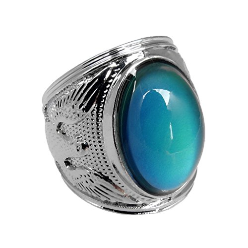 Price comparison product image Arsmt Mood Rings King of Eagle Gem Ring Color Changing Emotion Feeling Anxiety Relex Finger Ring with Box(size 12)