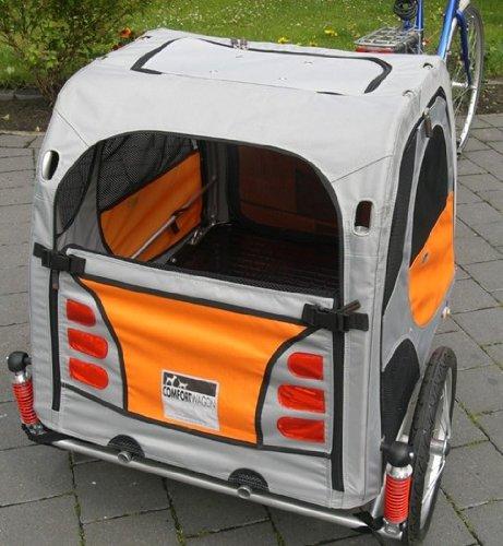 Der gefederte Comfort Wagon einsatzbereit am Fahrrad montiert.*
