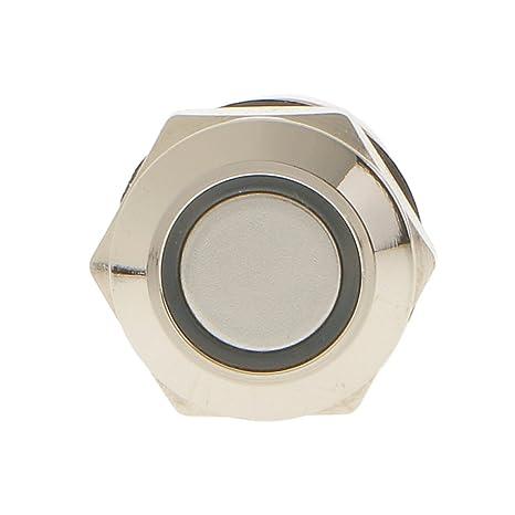 12V 12 mm Interruptor SPST de Botón Pulsador Momentáneo Impermeable de Metal Azul LED