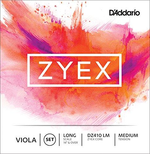 D'Addario Zyex Viola String Set, Long Scale, Medium Tension (Viola Spirocore Set)