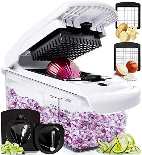 Fullstar Vegetable Chopper  Spiralizer Vegetable Slicer  Onion Chopper with Container  Pro Food