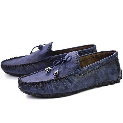 Mocasines para Hombres Mocasines Blandos Zapatos Casuales Sin Cordones MarróN Negro Guisantes Rojos Zapatos Planos: Amazon.es: Zapatos y complementos