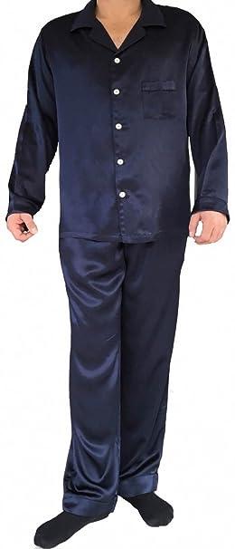 Hombre Pijama de Seda Conjuntos Clásico Pijama 2 Piezas Set Camiseta + Pantalones Ropa De Noche