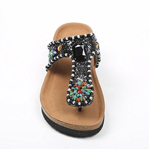 Ideal Shoes Barfuß Glitter und Kette Strass Kristall Andrienne Schwarz