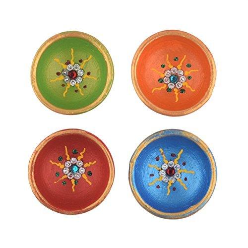Store Indya, Set of 4 Handmade Earthen Clay Terracotta Decorative Diyas,Oil Lamps with Rhinestone (Jewel for Pooja) (Multicolor (Promenade Halloween)
