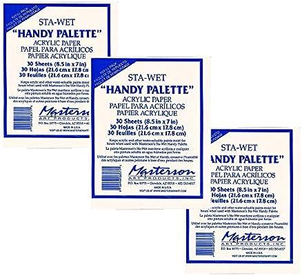 Masterson Sta-Wet Handy Palette Pack de 30 paletas de papel acrílico 8 1/2 pulgadas x 7 pulgadas, color blanco (paquete de 3): Amazon.es: Juguetes y juegos