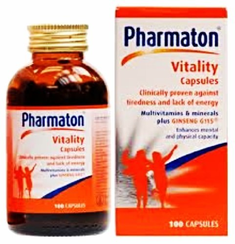 PHARMATON VITALITY 100 CAPSULES TO RESTORE PHYSICAL EFFICIENCY WITH MULTIVITAMINS AND MINERALS STRENGTHEN WITH GINSENG QUANTITY OF 2 BOTTLES