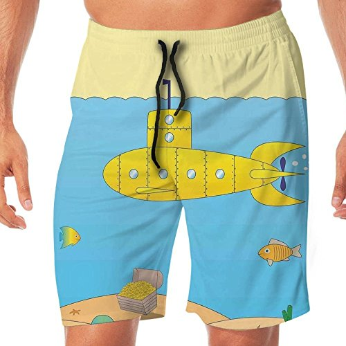 Haixia Men Summer Swim Short Yellow Submarine Cartoon Under Sea Adventure Jell