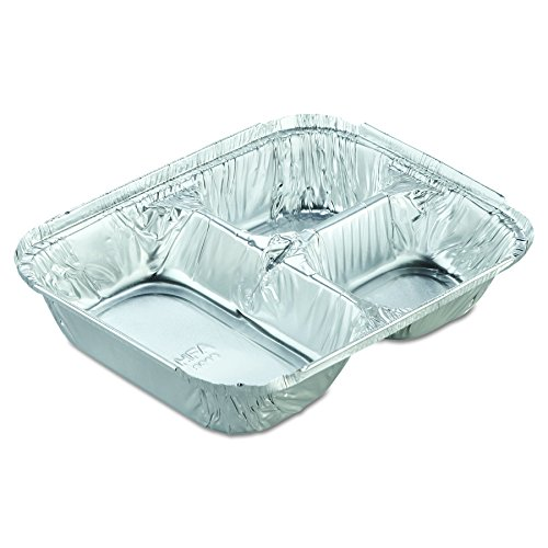 Handi-Foil of America 204535250W Aluminum Oblong Container with Lid, 3-Compartment, 24 Oz Capacity, 8 1/2w x 6 3/8d x  1 15/32h (Case of 250) by HFA