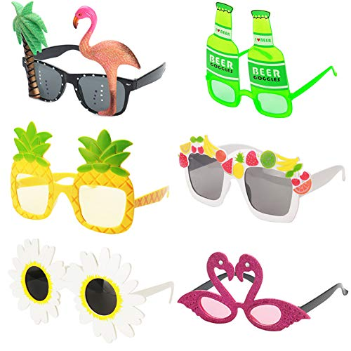 Ocean Line Novelty Party Sunglasses - 6 Pairs Creative Funny Eyewear, Luau Tropical Party, Fancy Dress Party Supply, Perfect Hawaiian Themed Eyeglasses for Kids & Adults -