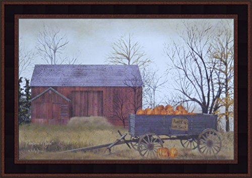 Pumpkin Wagon by Billy Jacobs 15x21 Pumpkins For Sale Red Barn Wagon Fall Autumn Crops Primitive Folk Art Print Framed Picture ()
