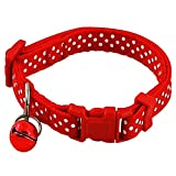 TOOGOO(R) Pet Dog Puppy Cat Collars Fashion Polka Dot Print Adjustable Pet Animals pp Neck Chain With Bell S red