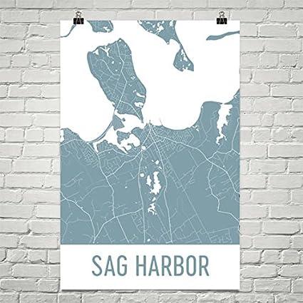 Hamptons New York Map.Amazon Com Modern Map Art Sag Harbor Map Sag Harbor Art Hamptons