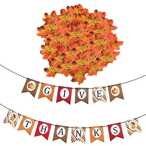 Coxeer Thanksgiving Banner, Happy Thanksgiving Banner Give Thanks Banner Paper Hanging Banner with 200Pcs Maple Leaves for Home,School and Party Decor -