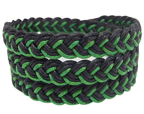 NA RIN Bracelet Men Women Classic Thai Boxing Outdoor Cotton String 3 Wrap Black Green Adjuastable
