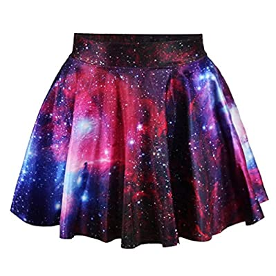 Pretty321 Women Girl Hipster Starry Galaxy Stars Cute Mini Skirt Collection Flared