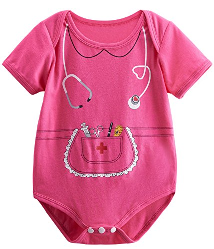 Mombebe Baby Girls' Nurse Costume Bodysuit (6-12 Months, Pink) (Funny Nurse Costumes)