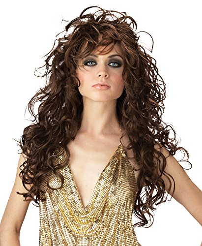 UHC Long Curly Greek Roman Seduction Wig Halloween Adult Costume Accessory (Brown) (Brown Wig Seduction Adult)