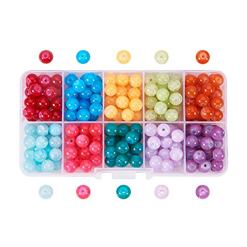 (Pandahall 1 Box (about 200pcs) 10 Color 8mm Imitation Jade Baking Painted Crackle Glass Round Beads Assortment Lot for Jewelry Making)