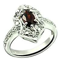 Sterling Silver 925 Ring GENUINE GEMSTONE Marquise Shape 0.70 Carat with Rhodium-Plated Finish