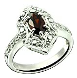 Sterling Silver 925 Ring GENUINE GEMSTONE Marquise Shape 0.70 Carat with Rhodium-Plated Finish (5, garnet)