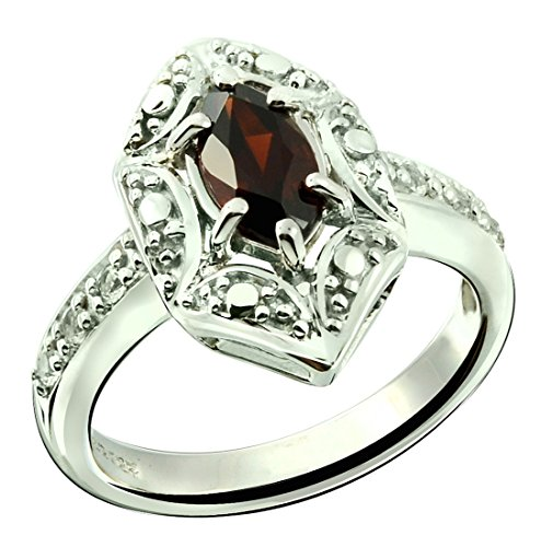 (RB Gems Sterling Silver 925 Ring Genuine Gemstone Marquise Shape 0.70 Carat with Rhodium-Plated Finish (8, Garnet))