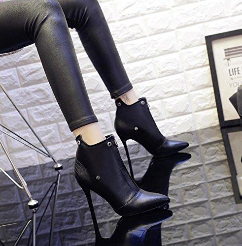 Versatile Punta Con Plus Stivali Di Inverno E High Nudo Scarpe 9cm Martin In Versione Velluto Femmina nero heel 37 Khskx La Coreana Bene Femminile 4Z7wIx4q