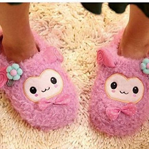 Elevin(TM)Pregnant Women Home Slippers Hairball Winter Autumn Warm Shoes Yoga Shoes Hot Pink1 vySGSdBj