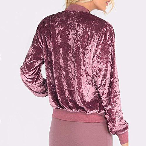 Outwear Coat Casual Maniche Vintage Comodo Puro Leggero Fashion Colore Donna Elegante Con Cerniera Lunghe Velluto Sportivo Pilot Rosa Giacca Jacket wUTOqT