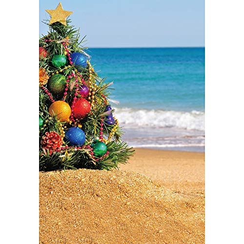 (Renaiss 3x5ft Beach Xmas Tree Photography Backdrop Colorful Ball Gold Star Ocean Blue Sky Background Happy New Year Merry Christmas Celebration Party Banner Portraits Photo Studio Props)