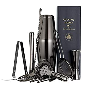 11-piece Cocktail Shaker Bar Set: 2 Weighted Boston Shakers, Cocktail Strainer Set, Double Jigger, C