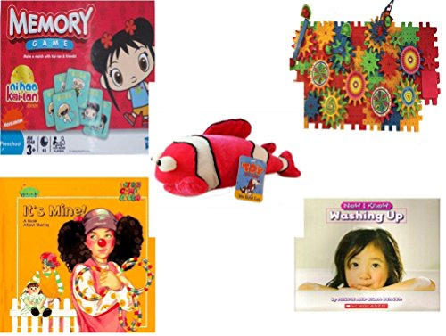 Children's Gift Bundle - Ages 3-5 [5 Piece] - Ni Hao Kai-LAN Edition Memory Game - Play Sprockets Toy - Toy Factory Coral Reef Fish Pink White Plush - It's Mine. A Book About Sharing Hardcover Book