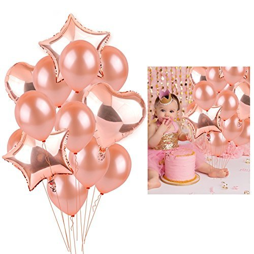 Large Rose Gold Heart Foil Balloons,18 Inch Foil Balloons and 10 Inch Latex Helium Balloons Perfect for Rose Glod Theme Wedding Birthday Party Decorations Supplies with Ribbon(14 Pack) ()