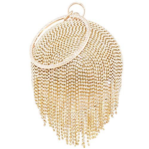 Womans Round Ball Clutch Handbag Dazzling Full Rhinestone Tassles Ring Handle Purse Evening Bag (C) by LONGBLE (Image #3)