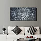 Textured Abstract Squares Canvas Wall Art Hand