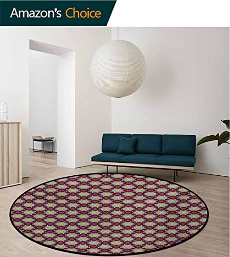 - RUGSMAT Floral Rug Round Home Decor Area Rugs,Hand Drawn Flourishing Nature Illustration with Petals and Dots Geometric Figures Non-Skid Bath Mat Living Room/Bedroom Carpet,Round-35 Inch