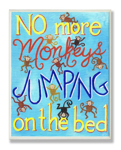 The Kids Room by Stupell No More Monkeys Jumping On The Bed Rectangle Wall Plaque, 11 x 0.5 x 15, Proudly Made in USA ()