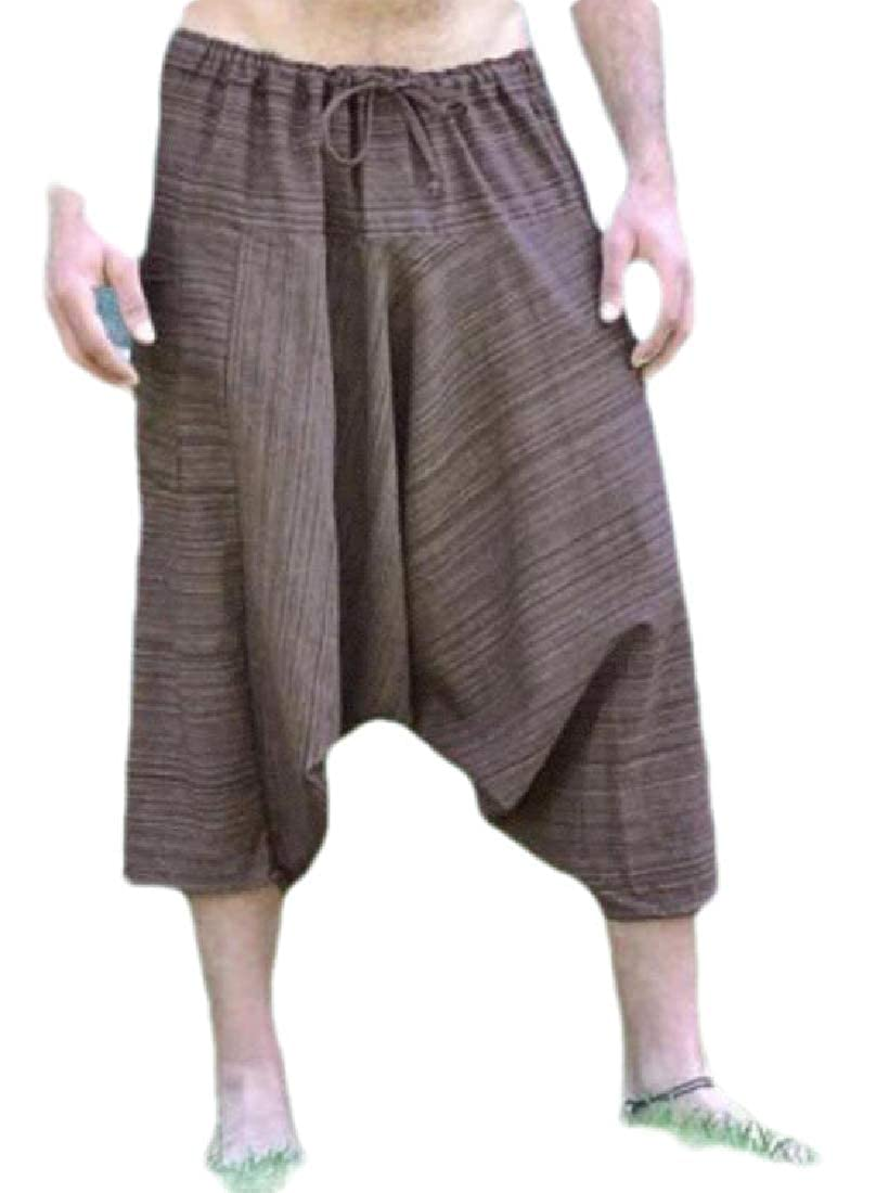 pujingge Men Summer Casual Shorts Loose Linen Harem Capri Pants
