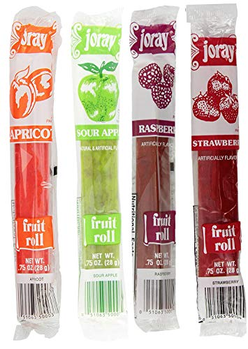 Joray Fruit Roll Variety Pack! Apricot, Strawberry, Raspberry, Sour Apple.75 Oz Fruit Leather (Total of 24 Fruit Leathers) (Sour Fruit Roll Up)