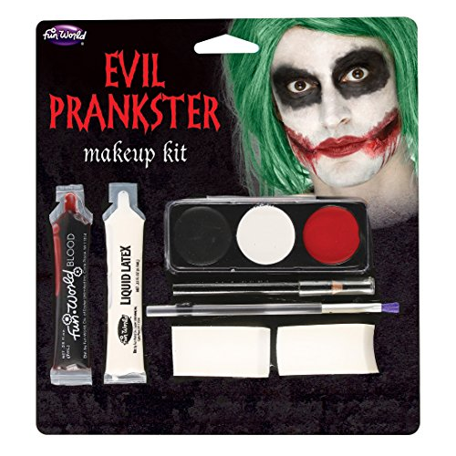 Fun World Unisex-Adult's Halloween Evil Prankster/Joker Make Up Kit, Multi -