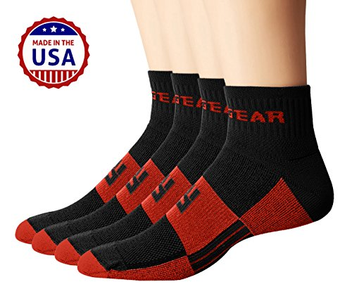 MudGear Trail Running Socks for Men and Women, Made in USA - 2 Pair Pack (Black/Orange, Small)