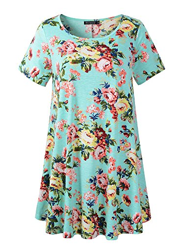 Veranee Women's Plus Size Swing Tunic Top Short Sleeve Floral Flare T-Shirt (X-Large, 56-2) (Polyester Swing)
