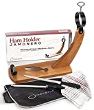 Ham Stand Spain + Knife + Sharpening Steel + Ham Cover + Kitchen Cloth + Tongs | The Original Ham Holder for Spanish Hams and Italian Prosciutto