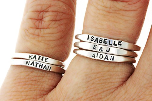 (Teeny Tiny Stacking Sterling Silver Ring By Hannah Design Personalized Ring)