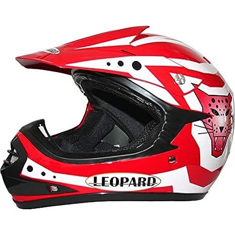 Red L Gloves Leopard SET DEAL LEO-X17 Children CUB Motorbike { Kids Motocross Helmet Goggles} 53-54cm